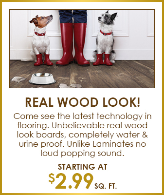 Real Wood Look! Come see the latest technology in flooring. Unbelievable real wood look boards, completely water & urine proof. Unlike Laminates no loud popping sound. - Starting at $2.99 sq. ft.