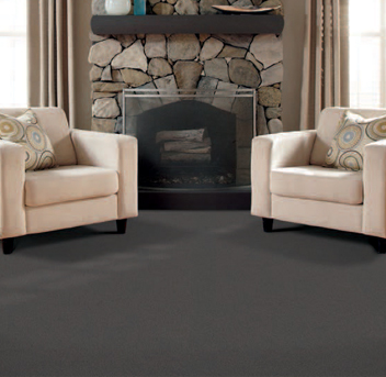 Living room scene with dark gray Infinity nylon carpet
